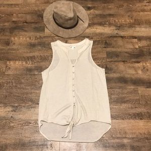 Soft Joie Cameo Tie Front Button Up Oatmeal Tank S